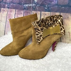 Betsey Johnson animal print ankle booties